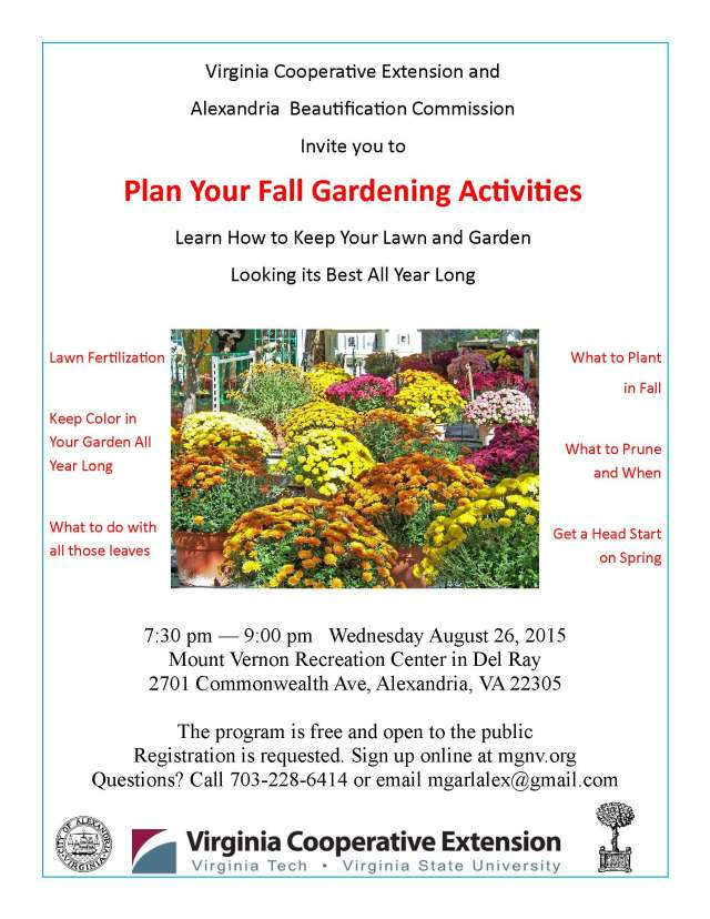 Alexandria Beautification ABCs of Fall Gardening