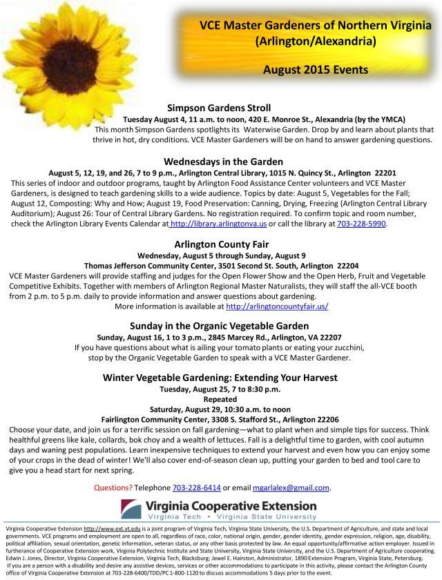 August programs flier