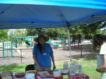 Carol Kilroy, who coordinates and publicizes Simpson's work parties, staffed the refreshment table, which the SimpsonMGs supplied with herb-infused baked goods and waters.