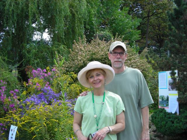 Master Gardener Denise Dieter is a regular at the Tuesday morning work parties at Simpson; husband George Dieter helps keep our wagons and storage boxes in good repair and helps move heavy things about. They are shown in front of Simpson's Pollinator Garden on Sept. 28.