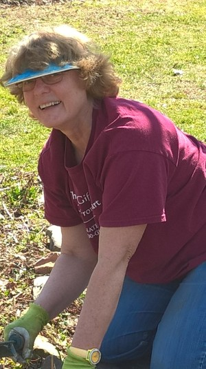 Paula Kaufman in the garden