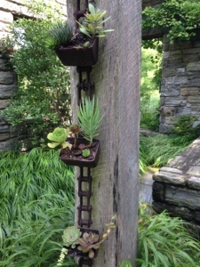 Vertical planting of succulents at Chanticleer Gardens