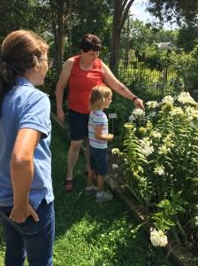 Alyssa teaches a young garden visitor about bumblebees.
