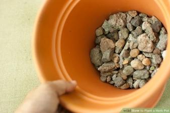 Gravel in bottom of pot