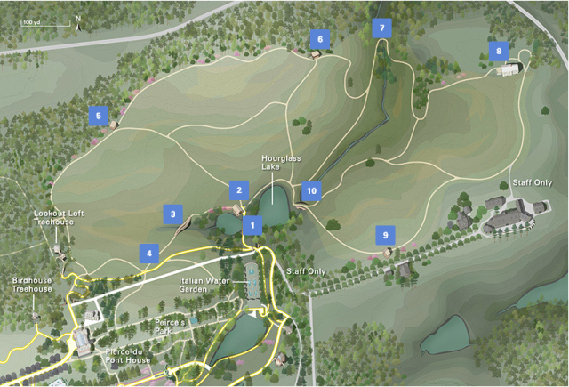 Map of meadow path with different areas identified