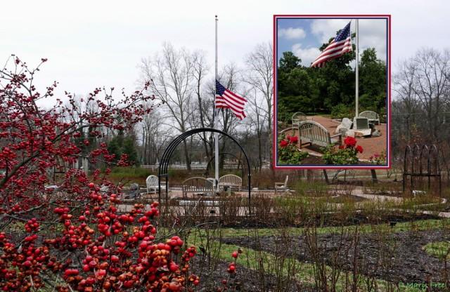Bon Air Memorial Rose Garden in Arlington, Virginia flies the Red, <span style=