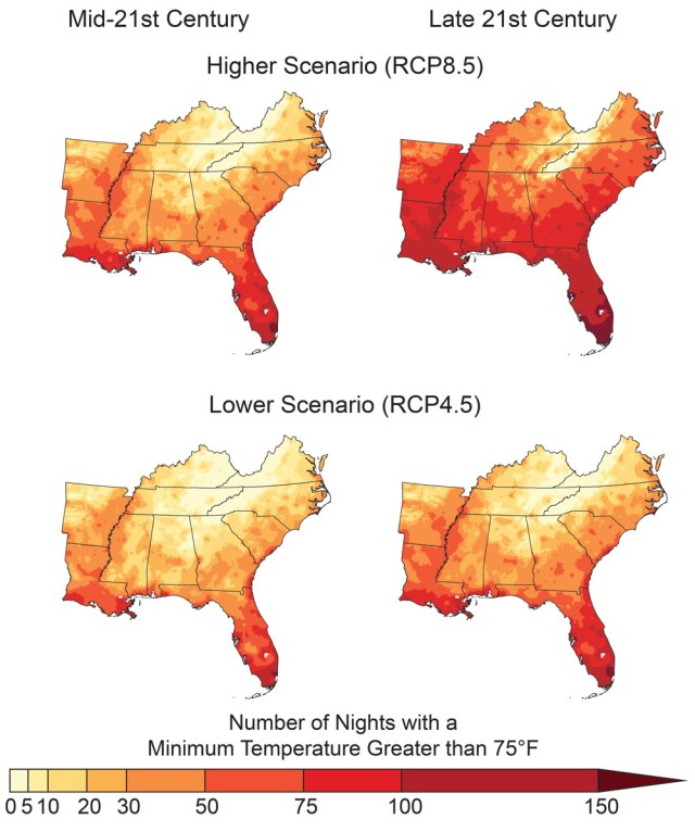 Plant Hardiness Zone Figure Description:  Number of Warm Nights Figure Description -   Figure 19.5: The maps show the projected number of warm nights (days with minimum temperatures above 75°F) per year in the Southeast for the mid-21st century (left; 2036–2065) and the late 21st century (right; 2070–2099) under a higher scenario (RCP8.5; top row) and a lower scenario (RCP4.5; bottom row). These warm nights currently occur only a few times per year across most of the region (Figure 19.4) but are expected to become common events across much of the Southeast under a higher scenario. Increases in the number of warm nights adversely affect agriculture and reduce the ability of some people to recover from high daytime temperatures. With more heat waves expected, there will likely be a higher risk for more heat-related illness and deaths. Sources: NOAA NCEI and CICS-NC.